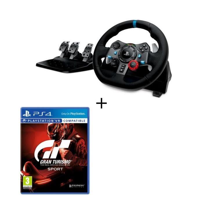 LOGITECH Volant de Course G29 Driving Force pour PS4 et PC + Gran Turismo Sport Jeu PS4