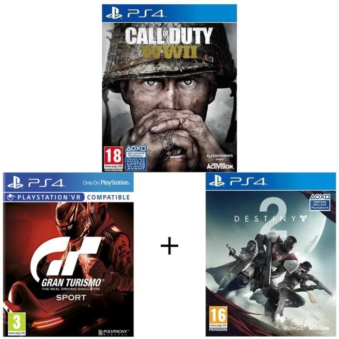 Pack de 3 jeux PS4 : COD WWII + GT Gran Turismo + Destiny 2
