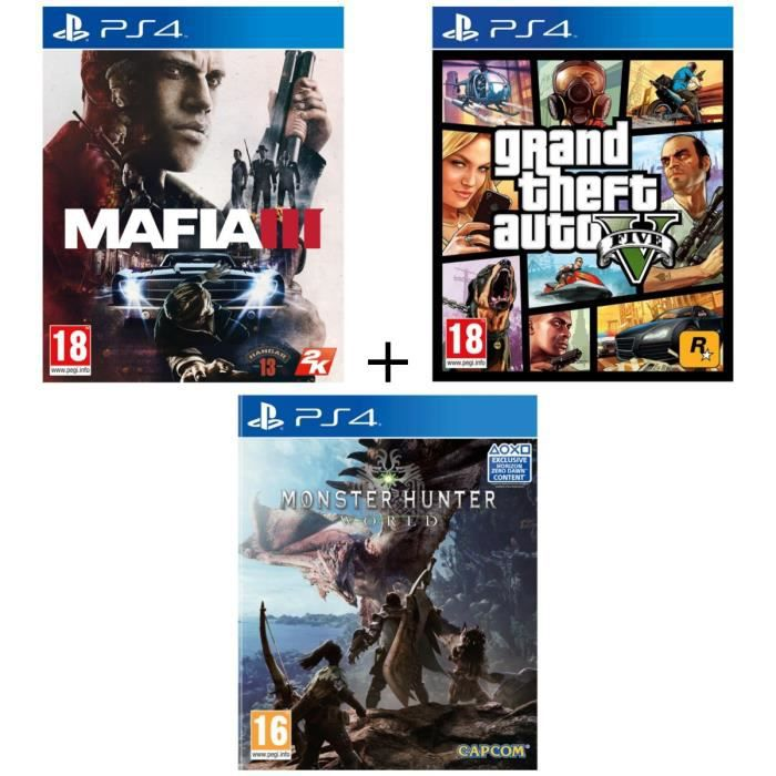 Pack 3 jeux PS4 : Mafia III + GTA V + Monster Hunter World