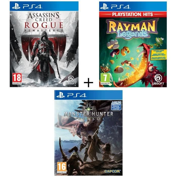 Pack 3 jeux PS4 : Assassin's Creed Rogue Remastered + Rayman Legends + Monster Hunter World