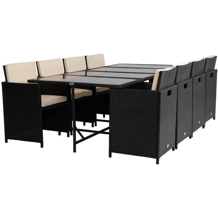Ensemble repas de jardin encastrable 8 personnes - table 220x110 plateau en verre + 8 fauteuils en r