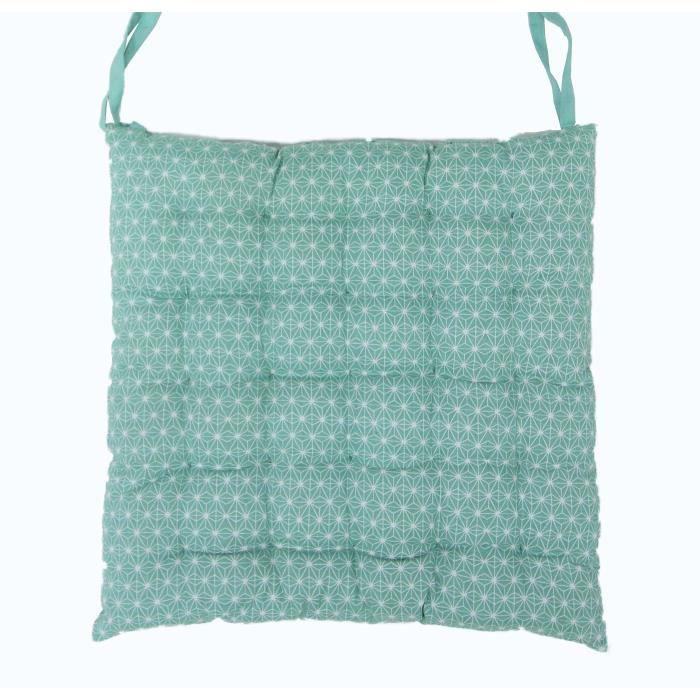Galette de chaise 100% coton 25 points SCANDI 40x40x4 cm aqua