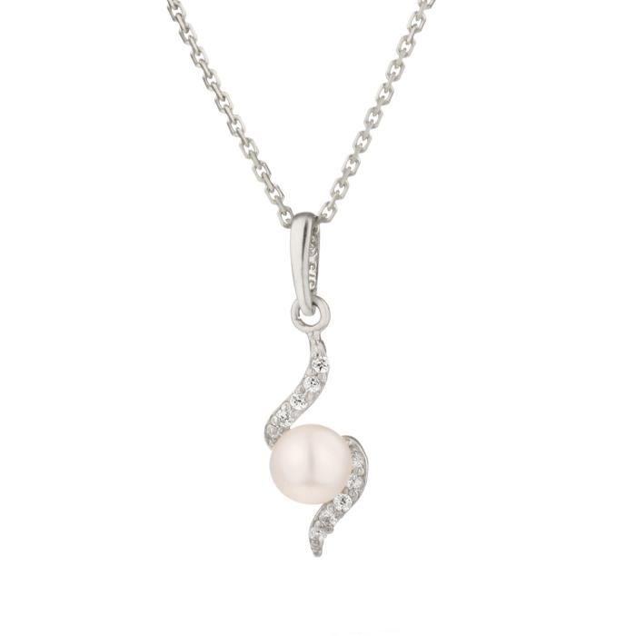 OR ECLAT Collier avec Pendentif Or Blanc 375° Perle d'Eau Douce et Oxydes de Zirconium Femme