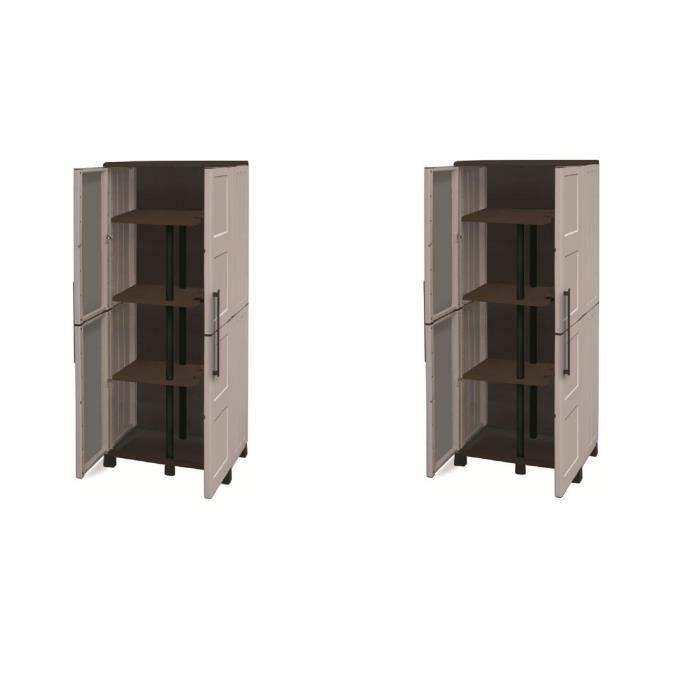 TOOD Lot de 2 armoires hautes de rangement 3 tablettes en résine avec porte-balai