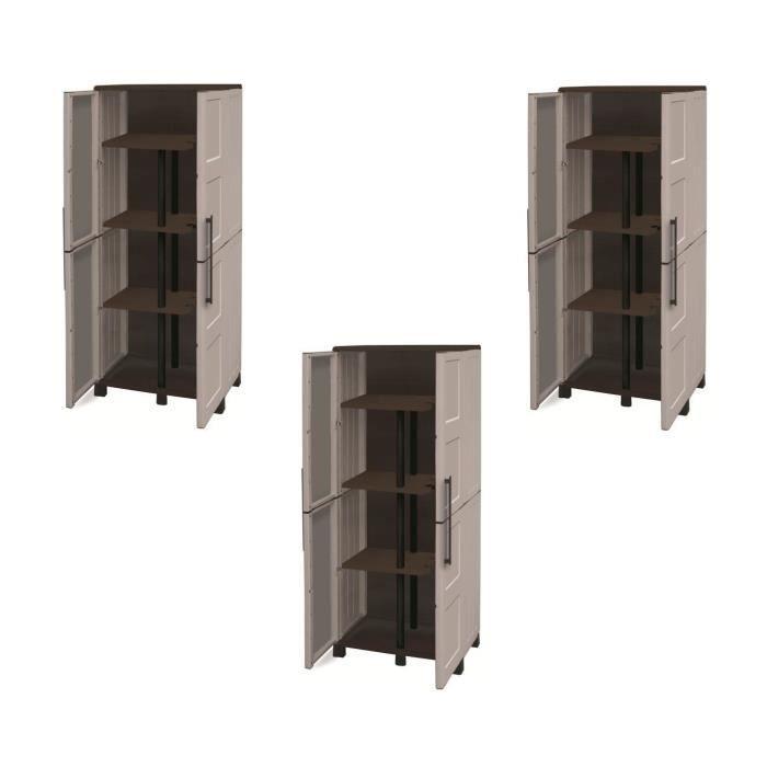 TOOD Lot de 3 armoires hautes de rangement 3 tablettes en résine avec porte-balai
