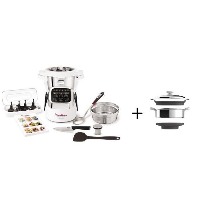 MOULINEX HF805810 Robot cuiseur Companion XL + Accessoires XF384B10 Cuiseur vapeur pour Companion