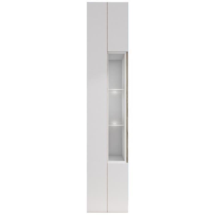Panneaux de particules mélaminés blanc et décor chêne - L 40 x P 40 x H 203 cm - 1 porte et 3 nichesVITRINE - ARGENTIER - VAISSELIER