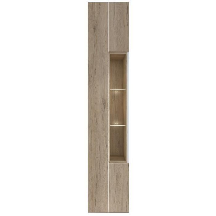 Panneaux de particules mélaminés décor chêne clair et blanc - L 40 x P 40 x H 203 cm - 1 porte et 3 nichesVITRINE - ARGENTIER - VAISSELIER