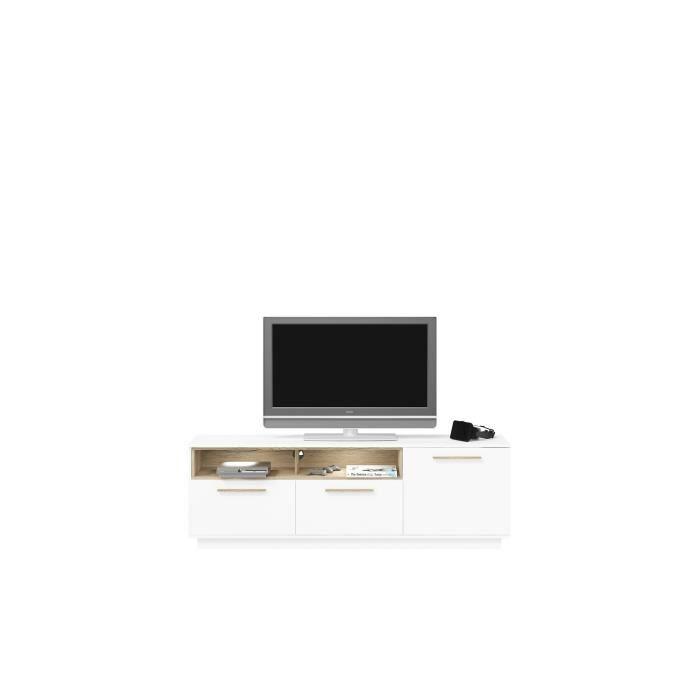 Panneaux particules mélaminés blanc et décor chêne - L 180 x P 40 x H 60 cm - 1 porte, 2 abattants et 2 nichesMEUBLE TV - MEUBLE HI-FI