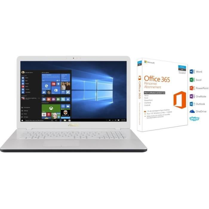 Pack Ordinateur Portable ASUS R702UA-BX479T - 17,3 pouces - RAM 6Go - Stockage 1To HDD + Office 365