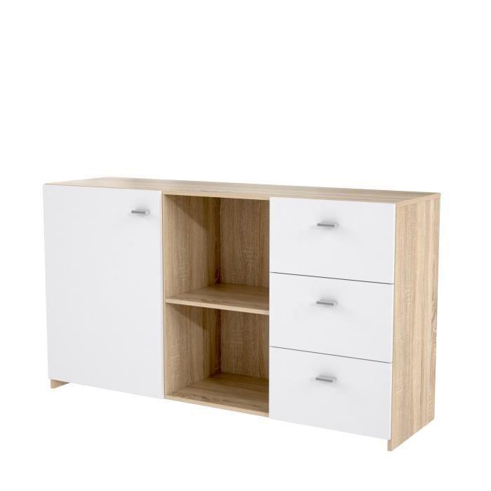 FINLANDEK Buffet haut MIDTOWN - Contemporain - Décor chêne sonoma 3D et blanc mat - L 144,6 cm