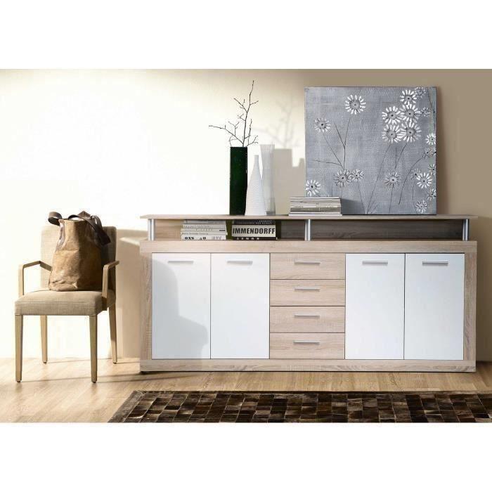 CAVA Buffet bas contemporain décor chêne et blanc - L 197 cm