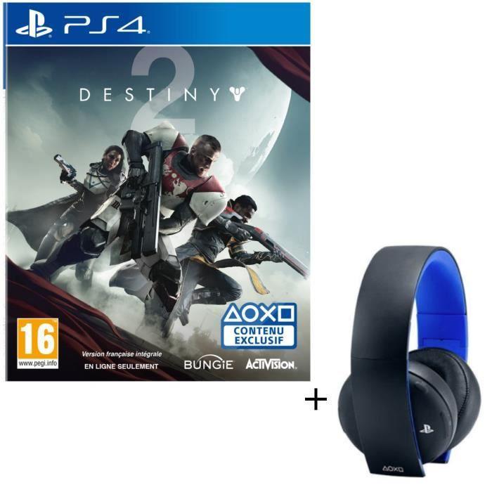 Pack Micro-casque Sony Sans Fil Stéréo 2.0 PS4, PS3, PS Vita + Destiny 2 Jeu PS4