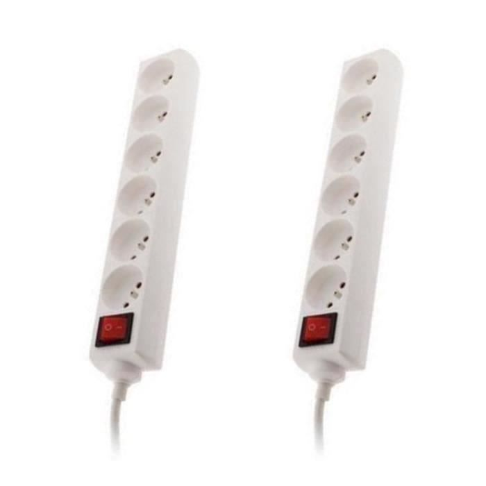 ZENITECH Lot de 2 Bloc à 6 prises - 16 A - 2P+T - Avec interrupteur blanc