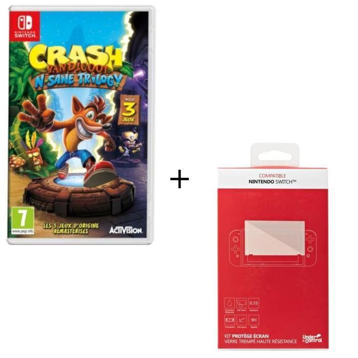 CBandicoot N.Sane Trilogy + Kit protège écran verre trempé Nintendo Switch