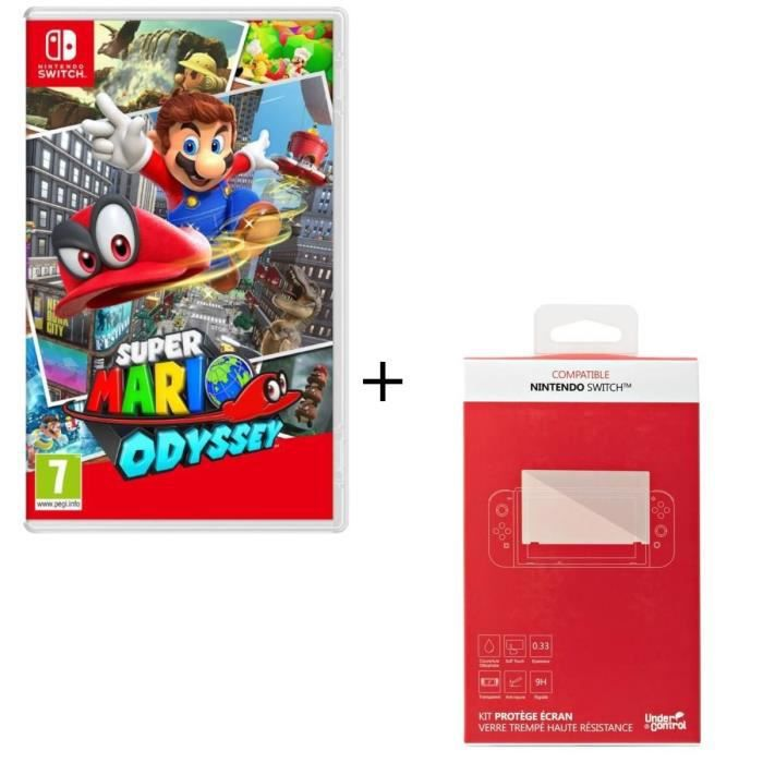 Super Mario Odyssey + Kit protège écran verre trempé Nintendo Switch