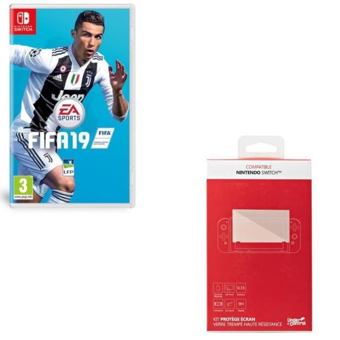 FIFA 19 + Kit protège écran verre trempé Nintendo Switch