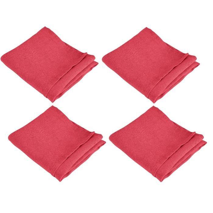 VENT DU SUD 4 Serviettes de table SYMPHONIE en lin - 50 x 50 cm - Rouge cranberry