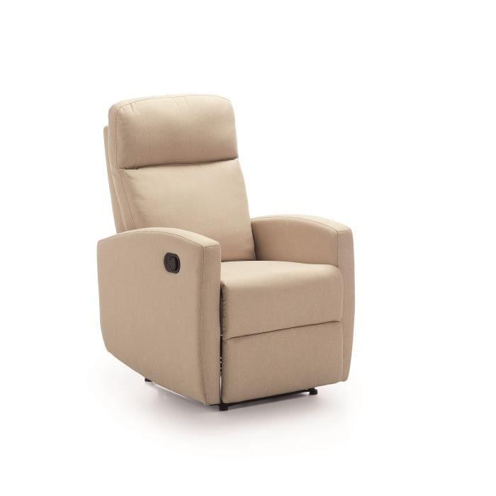 PHŒNIX Fauteuil de relaxation Manuel - Toile Beige - L 67 x P 80 x H 105 cm