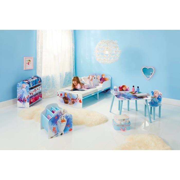 LA REINE DES NEIGES - Chambre Enfant complète (lit, table, 2 chaises, bibliothèque, meuble de rangement et veilleuse)