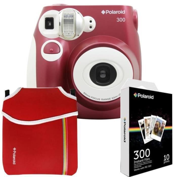 POLAROID PIC300 Rouge Appareil photo instantané compact + Etui néoprène Rouge + 10 feuilles