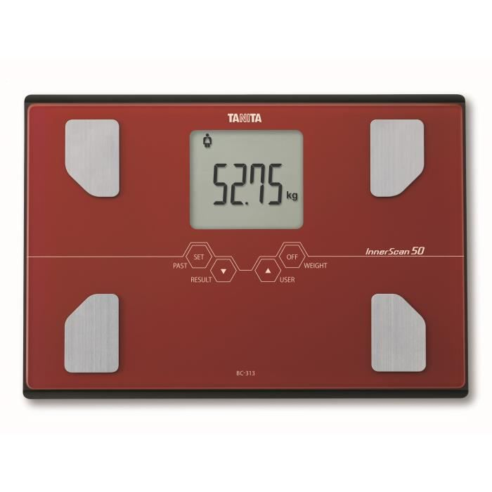 TANITA BC313RD36 Pèse-personne compact en verre avec écran LCD large - Rouge