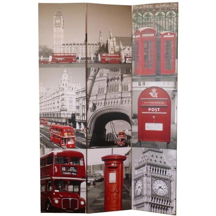 Matériau : sapin - Dimension : 180 x 120 cm - Epaisseur : 2,5 cm - Coloris : gris et rouge - Motif : LondresPARAVENT