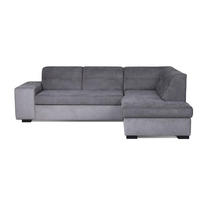 ALMERIA Canapé d'angle droit convertible 5 places - Tissu gris clair et gris - Contemporain - L 264