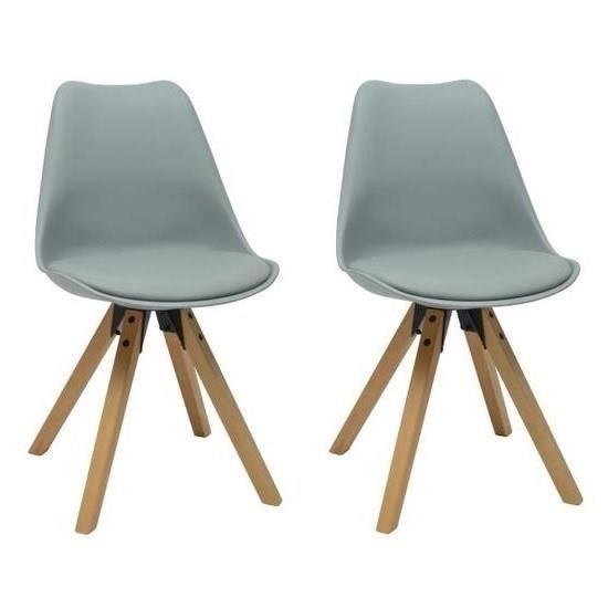 HANNOVER Lot de 2 chaises de salle à manger - Simili gris - Scandinave - L 49,5 x P 61 cm