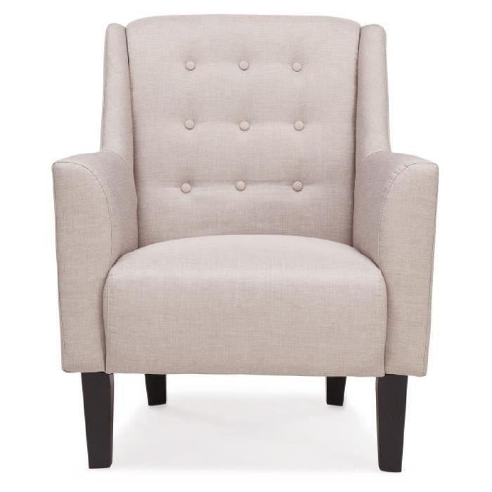 ANATOLE Fauteuil - Revêtement tissu gris clair - L 45 x P 45 cm