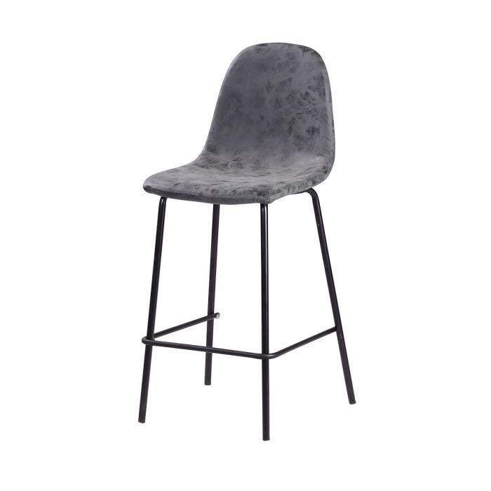 VINTE Tabouret de bar - Simili gris anthracite - Industriel - L 39,5 x P 47,5 cm