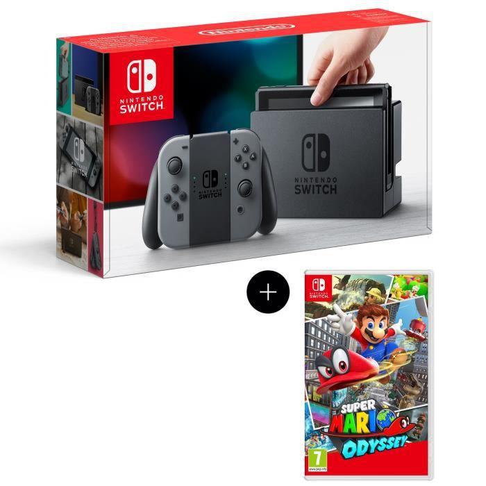 Console Nintendo Switch avec paire de Joy-Con gris + Super Mario Odyssey