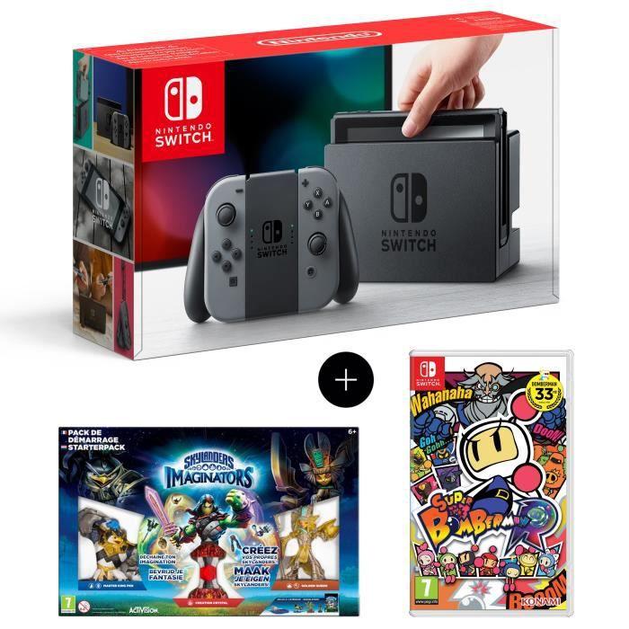 Nintendo switch avec paire de joy con gris pack de démarrage skylanders imaginators super bomberman r