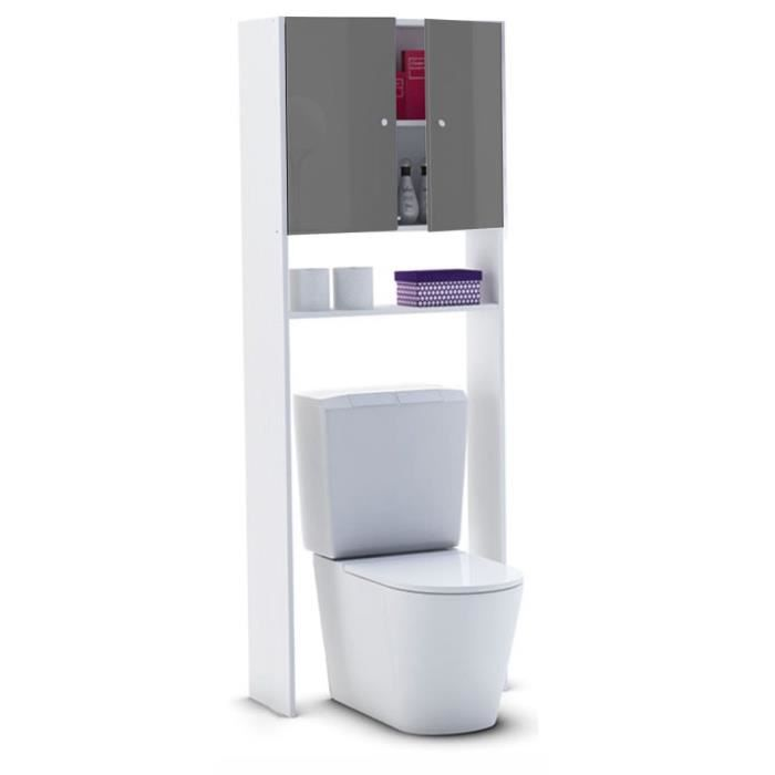 L 63 x P 25 x H 178 cm - Livré en kit - Idéal pour WC ou machine à laver - 2 portes + 1 étagère - Façades Haute Brillance - Fabrication françaiseCOLONNE WC - ARMOIRE WC - COFFRAGE WC - PONT WC