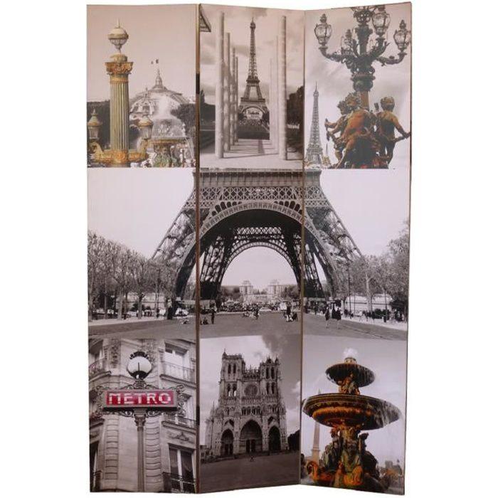 Matériau : sapin - Dimension : 180 x 120 cm - Epaisseur : 2,5 cm - Coloris : gris et jaune - Motif : ParisPARAVENT