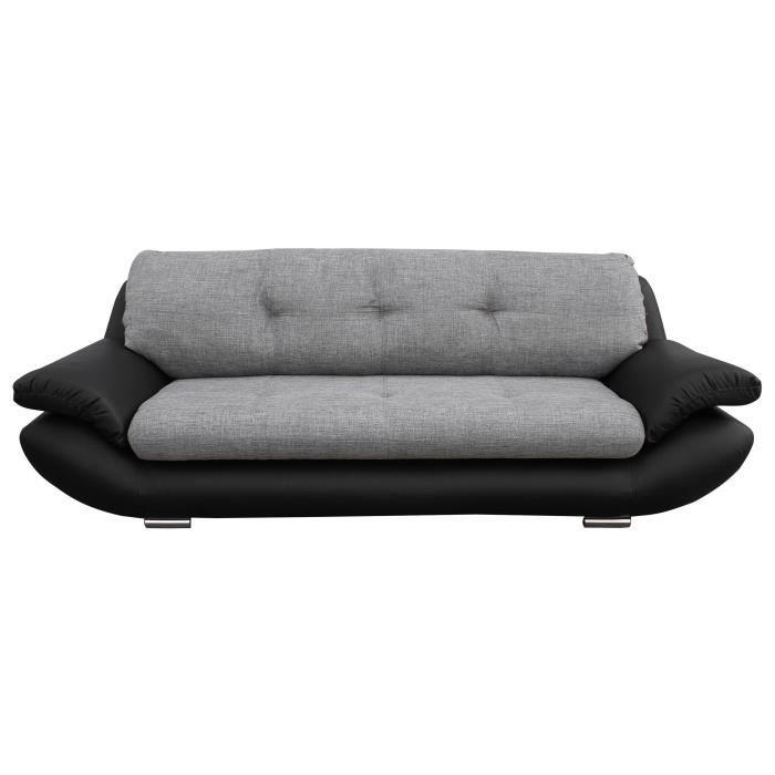 Droit fixe - 3 places - Tissu gris et simili noir - Contemporain - L 150 x P 60 cm - MŒlleuxCANAPE - SOFA - DIVAN