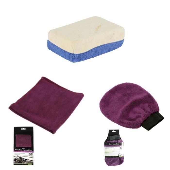 TURBOCAR Gant microfibre TECH + Tissu microfibre dépoussiérant TECH + Eponge microfibre et chamois synthétique
