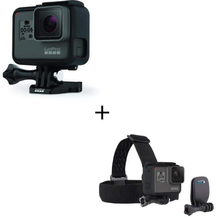 GOPRO HERO 6 BLACK Caméra de sport 4K60 - 12 MP - Wi-Fi - Bluetooth - Commandes vocales - Étanche jusqu'à 10m sans boîtier + Bandeau
