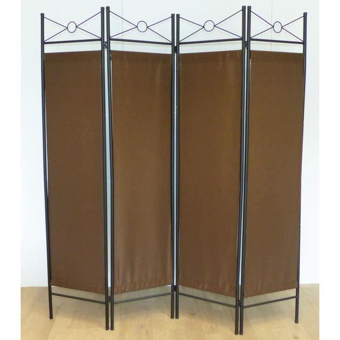 Matériau : acier et toile polyester - Dimension : 180 x 163 x 2 cm - Coloris : marron et noirPARAVENT