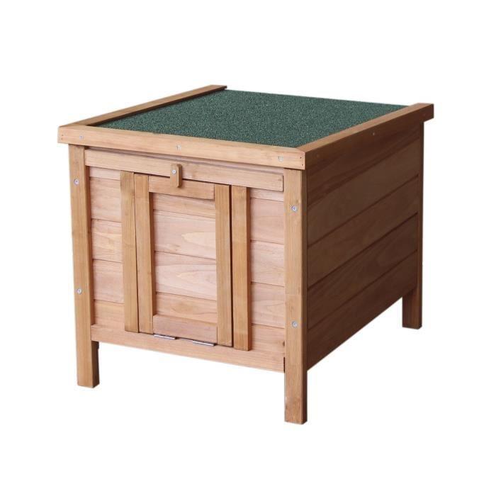Clapier en bois d'épicéa - Pour lapin et autres petits animaux - Dimensions : 42x51,5x43 cm - Coloris : bois.CLAPIER