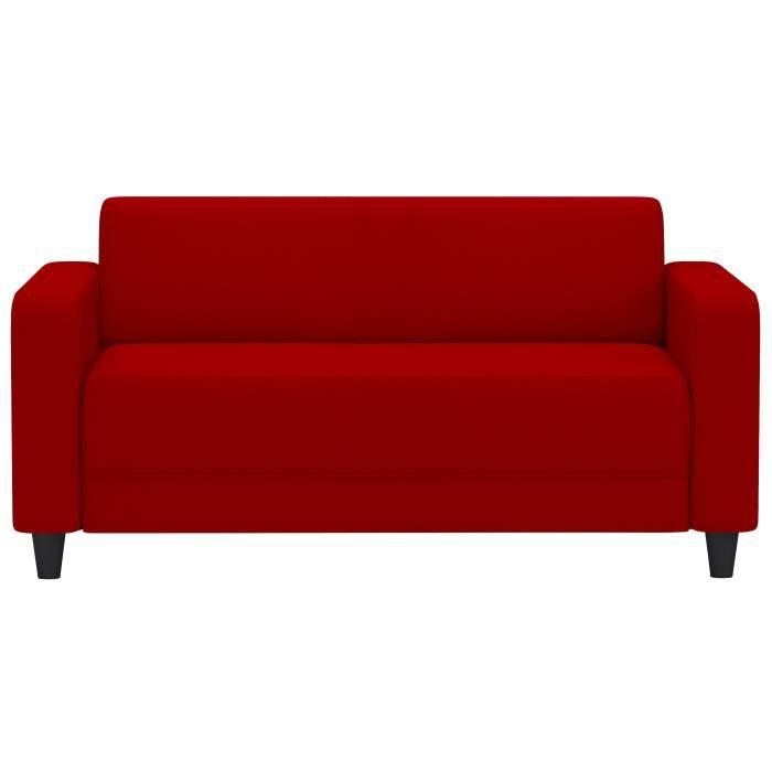 FIRR Canapé droit fixe 2 places - Simili Rouge - Contemporain - L 145 x P 79 cm