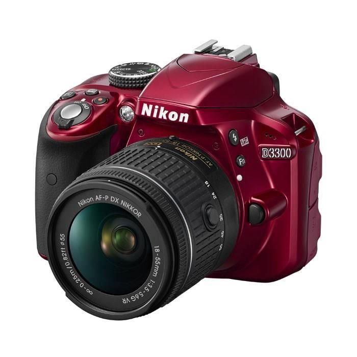 NIKON D3300 Rouge + AF-P 18-55VR Appareil photo numérique reflex avec objectif