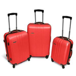 KINSTON Set de 3 Valises Rigide ABS 4 Roues 56-67-76cm Rouge