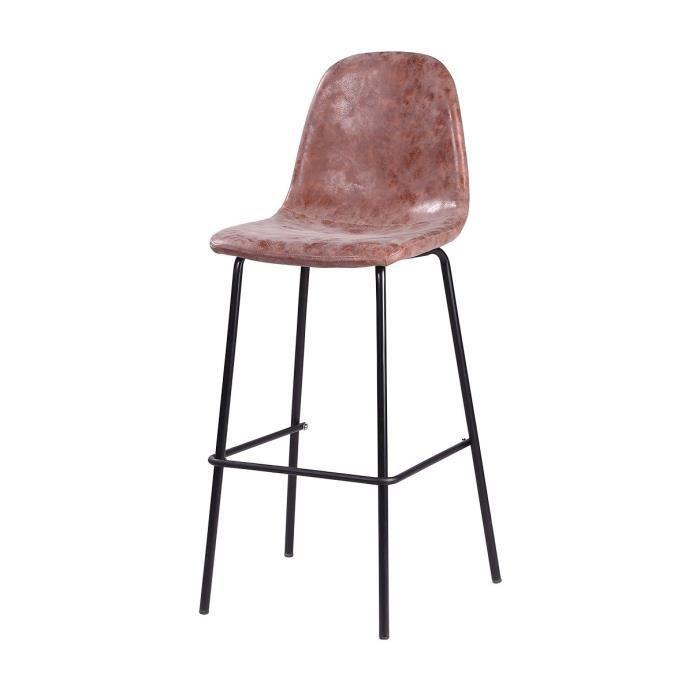 VINTI Tabouret de bar - Simili marron - Industriel - L 39,5 x P 47,5 cm