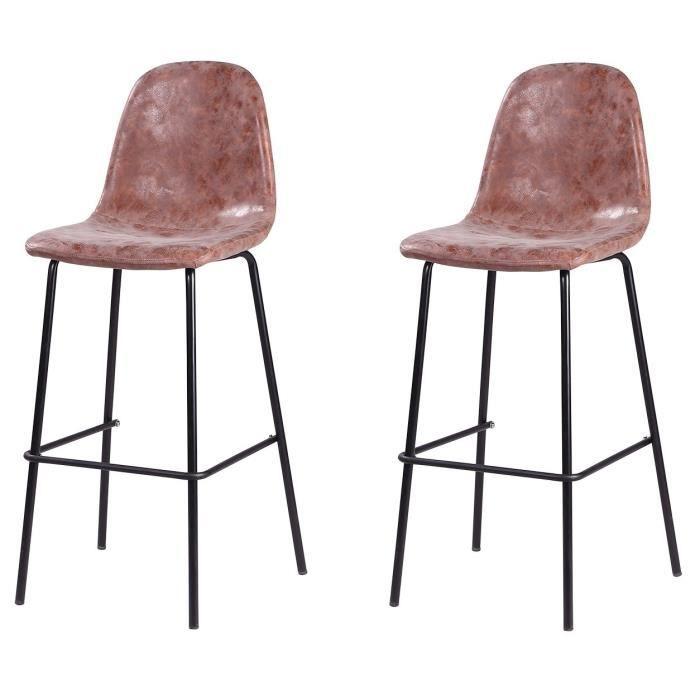 VINTI Lot de 2 tabourets de bar - Simili marron - Industriel - L 39,5 x P 47,5 cm