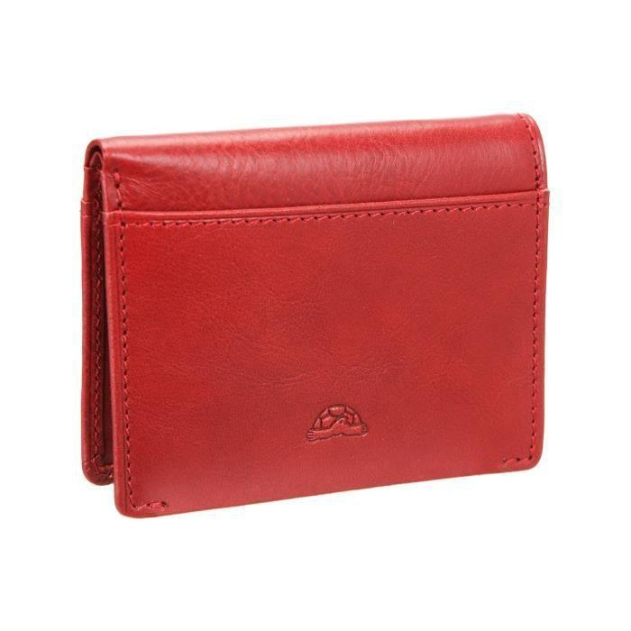 TONY PEROTTI Porte-carte de Crédit - Cuir de vachette - 10x8 cm - Rouge