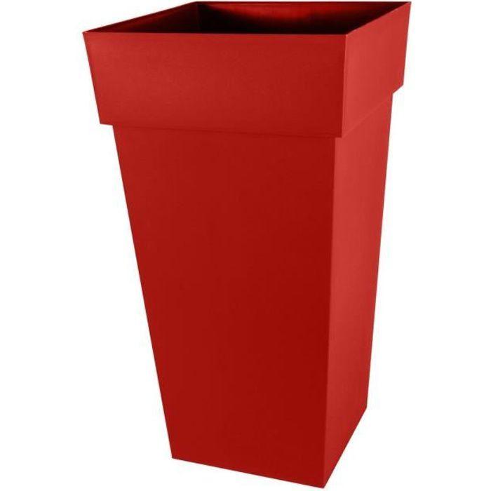 EDA Pot XXL carré Toscane - Contenance 98 L - Rouge rubis