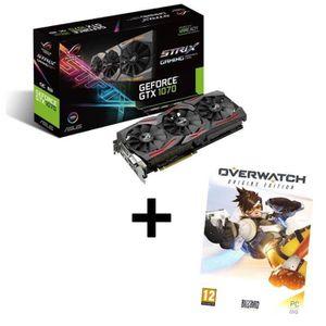Pack ASUS Carte graphique GeForce? GTX 1070 STRIX O8Go GDDR5 + Jeu PC Overwatch Edition Origins