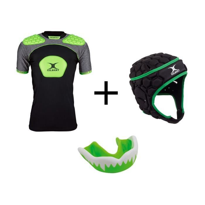 GILBERT Pack protection rugby adulte M - Casque rugby + épaulière et protège dent offert