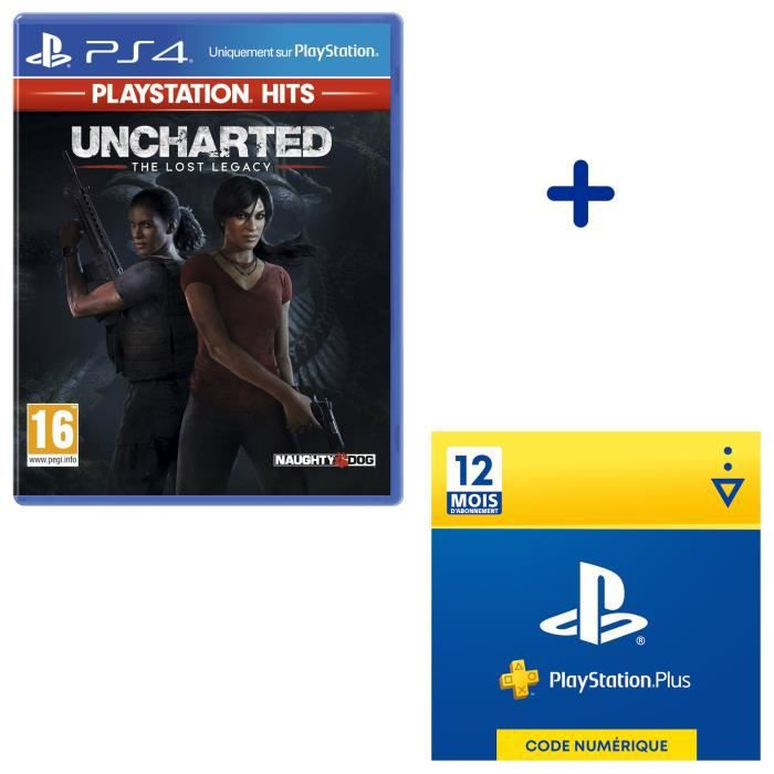 Pack PlayStation : Uncharted: The Lost Legacy PlayStation Hits + Abonnement 12 Mois PlayStation Plus